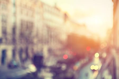 Street of Paris, France. Blurred city background, vintage filter