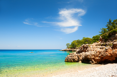 Beautiful beach with turquoise water and cliffs near Kemer, Turkey. Summer landscape