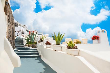 White architecture on Santorini island, Greece. Flowers on the cozy street. 版權商用圖片