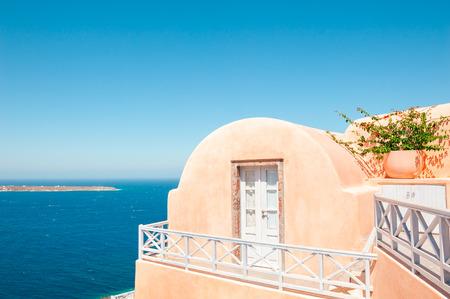 Traditional greek architecture on Santorini island, Greece. Summer landscape, sea view
