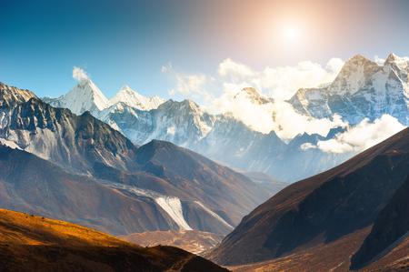 Himalaya mountain range against the sky at sunset. Khumbu valley, Himalayas, Everest region, Nepal