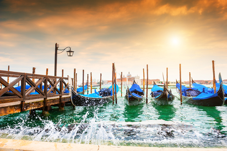 Gondolas on the Grand canal near San Marco square in Venice, Italy. Famous travel destination 写真素材