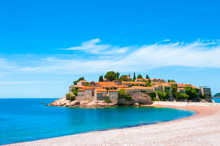 Sveti Stefan island near Budva, Montenegro. Luxury resort with beautiful beach at Adriatic sea. Famous travel destination