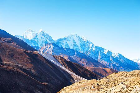 Himalaya mountain range against the sky at sunrise. Khumbu valley, Himalayas, Everest region, Nepal