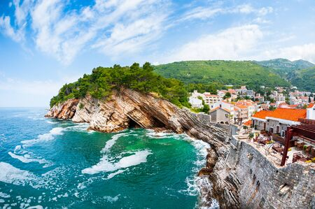 View of the cliffs from Castello fortress in Petrovac, Montenegro. Famous travel destination