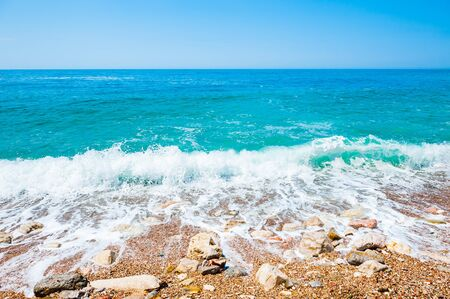 Beautiful sea beach with turquoise water. Adriatic sea, Montenegro. Summer travel background