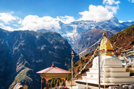 Buddhist stupa in Namche Bazar village in Himalayas, Nepal. Khumbu valley, Everest region