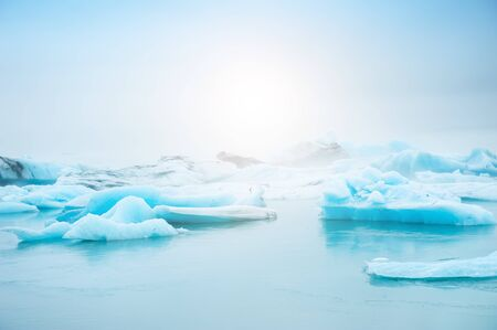 Blue icebergs in Jokulsarlon glacial lagoon, southern Iceland. Famous travel destination Stock Photo
