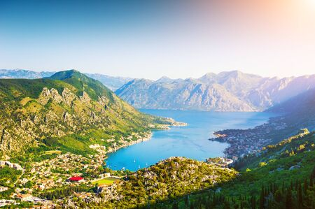 Panoramic view of Kotor bay in Montenegro at sunrise. Summer landscape. Famous travel destination.