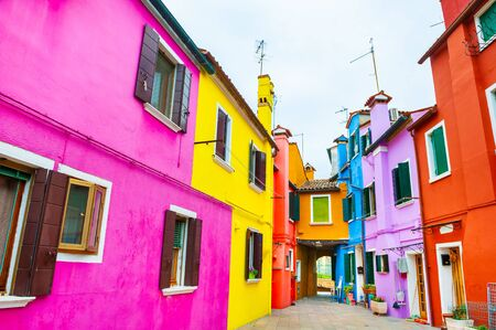 Colorful architecture in Burano island, Venice, Italy. Famous travel destination