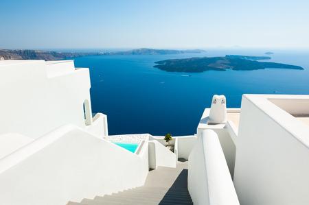 White architecture on Santorini island, Greece. Beautiful sea view. Famous travel destination