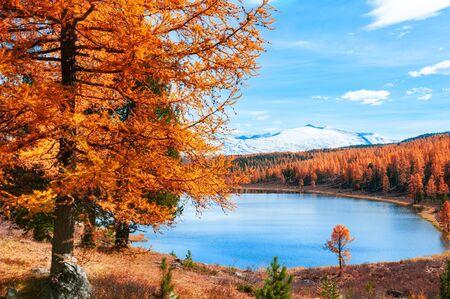 Kidelu lake in Altai mountains, Siberia, Russia. Beautiful autumn landscape.