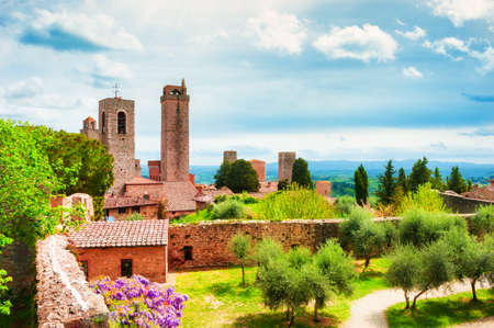 Medieval towers in San Gimignano, Tuscany, Italy. Summer landscape. Famous travel destination