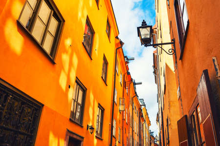 Colorful architecture in Old Town of Stockholm, Sweden. Famous travel destination