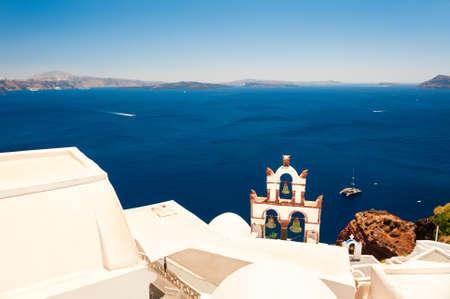White architecture and blue sea on Santorini island, Greece. Famous travel destination