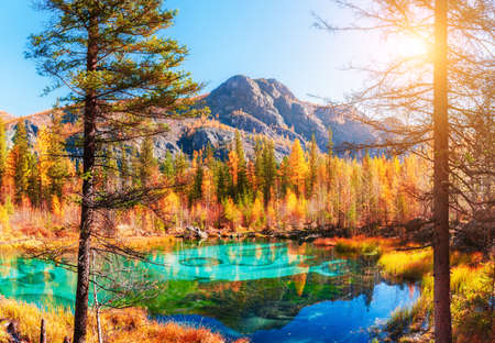 Geyser lake with turquoise water in Altai mountains, Siberia, Russia. Autumn nature landscape. Famous travel destination
