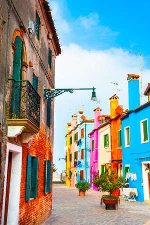 Colorful architecture in Burano island, Venice, Italy. Famous travel destination