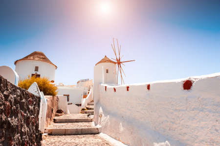 White architecture on Santorini island, Greece. Famous travel destination. Summer landscape