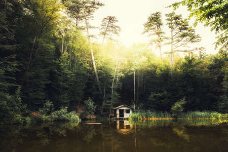Lake in the forest at sunset. Small wooden house on the shore of lake. Beautiful summer landscape.
