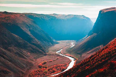 Chulyshman river gorge in Altai mountains, Siberia, Russia. Beautiful autumn landscape at sunrise