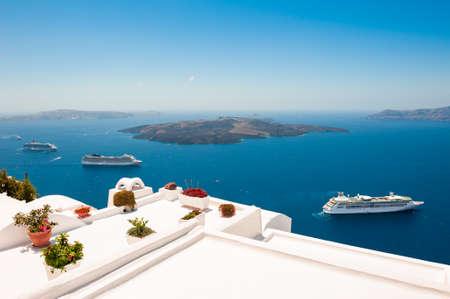 White architecture on Santorini island, Greece. Summer landscape, sea view. Travel destinations concept Reklamní fotografie