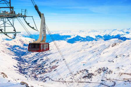 Cable car's cabin on ski resort in winter Alps.
