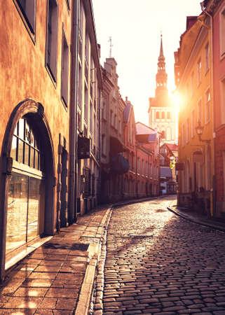 Beautiful cityscape at sunset in Old Town of Tallinn, Estonia. Famous travel destination