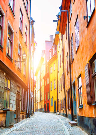 Beautiful cityscape at sunset in Old Town of Stockholm, Sweden. Famous travel destination