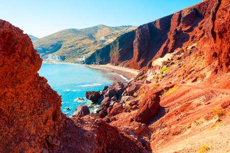 Red beach on Santorini island, Greece. Summer landscape, sea view. Famous travel destination