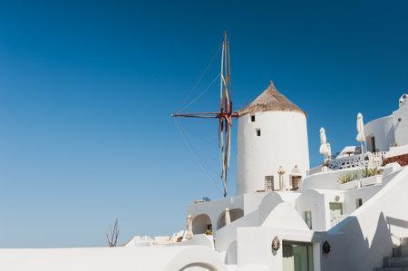 Traditional white architecture on Santorini island, Greece. Summer landscape, sea view. Famous travel destination