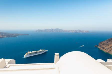 White architecture on Santorini island, Greece. Summer landscape, sea view. Famous travel destination
