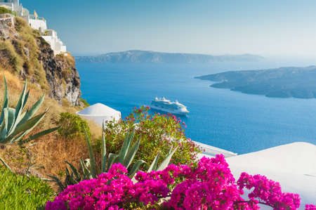 White architecture on Santorini island, Greece. Flowers on the terrace with sea view. Travel destinations concept