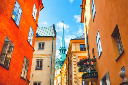Colorful architecture in Old Town of Stockholm, Sweden. Famous travel destination. Zdjęcie Seryjne