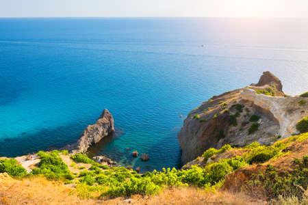 Beautiful sea coast with turquoise water and rocks in Fiolent Cape, Crimea. Summer seascape, famous travel destination