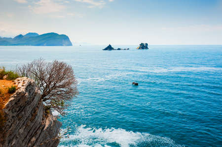 Beautiful sea coast near Petrovac, Montenegro. Summer landscape, sea view. Famous travel destination