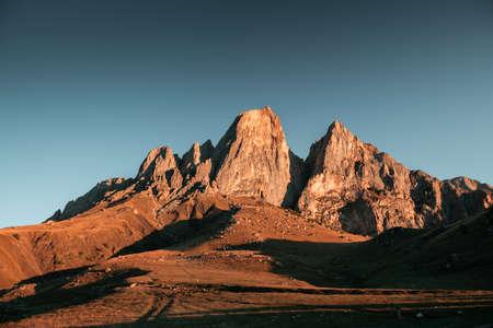 Erzi national park in Ingushetia, Caucasus, Russia. Cei-Loam mount at sunrise. Beautiful autumn landscape