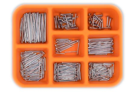 metal: A set of nails put in the toolbox.