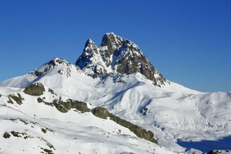 pyrenees: Midi snowed mountain in Pyrenees