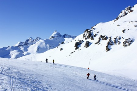 ec:  mountains in Ski resort Formigal in sunny day