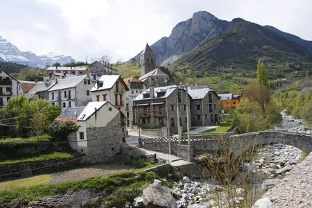 ec: village of Bielsa, pyrenees                    Stock Photo