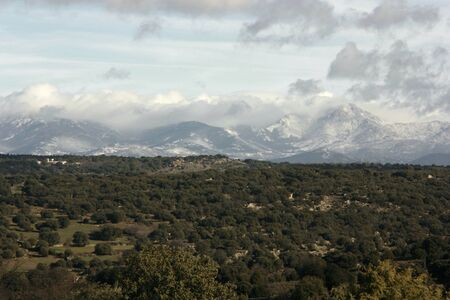 sierra snow: View of the Sierra de Madrid with snow Stock Photo