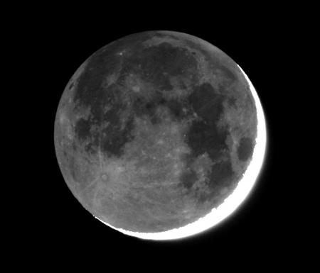 Moon with earthshine.