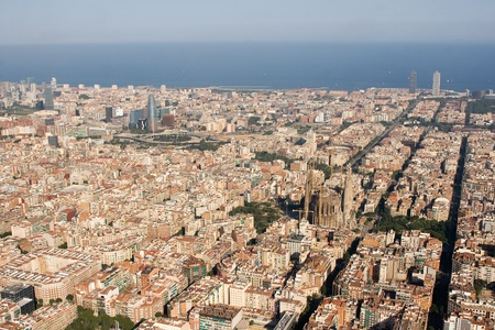 barcelona cathedral: Aerial view of Barcelona, Spain.