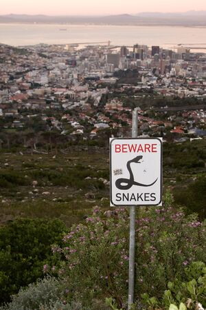 Snakes sign in Table Mountain, South Africa. photo
