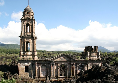 Church of San Juan Parangaricutiro buried by Paricutin lava flow, Mexico