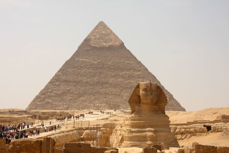 Sphinx and Pyramids of Giza, Egypt. photo