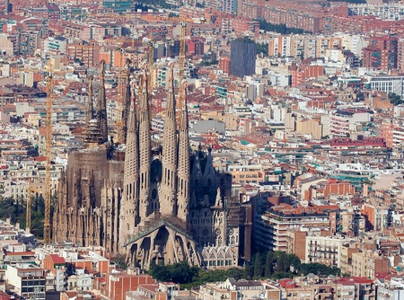 barcelona cathedral: Aerial view of Sagrada Familia, barcelona.
