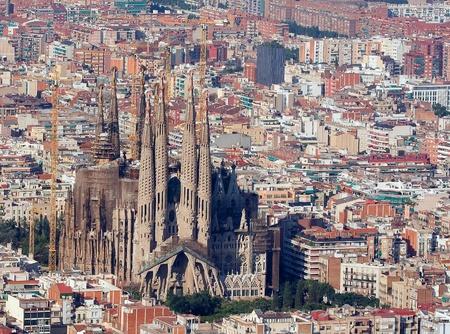 barcelone: Vue a�rienne de la Sagrada Familia, Barcelone. �ditoriale