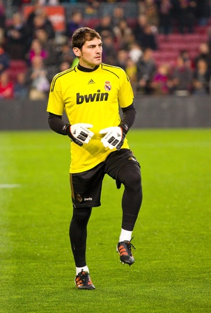 BARCELONA - JANUARY 25, 2012: Iker Casillas of Madrid in action during the Spanish Cup match between FC Barcelona and Real Madrid, final score 2 - 2, on January 25, 2012, in Camp Nou, Barcelona, Spain.