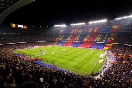 BARCELONA - JANUARY 25, 2012: Panoramic view of Camp Nou stadium before the Spanish Cup match between FC Barcelona and Real Madrid, final score 2 - 2.